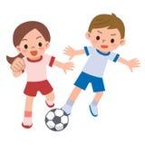 Le football de jeu d'enfants Images libres de droits