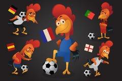 Le football de jeu de mascotte du football de poulet Européen de championnat de Frances illustration libre de droits