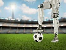 Le football de jeu de robot Image stock