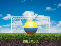 Le football de la Colombie sur le football ou le terrain de football Photographie stock