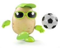 le football de la pomme de terre 3d Images libres de droits