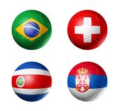 Le football de la Russie drapeaux de 2018 groupes E sur des ballons de football Photo libre de droits