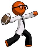 Le football de lancement orange de docteur Scientist Man Image stock