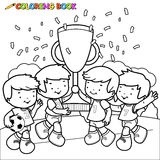 Le football de livre de coloriage badine des gagnants Photo libre de droits