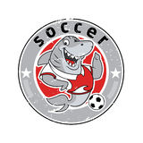 Le football de logo d'équipe de mascotte de requin Photos libres de droits