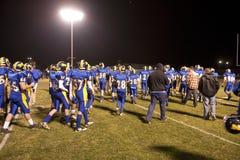 Le football de lycée à mi-temps Image libre de droits