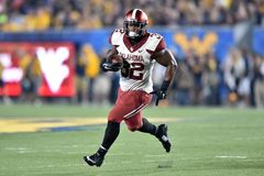 2014 le football de NCAA - le WVU-Oklahoma Images stock