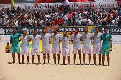 LE FOOTBALL DE PLAGE - ÉQUIPE D'ESPAGNOL DE MUNDIALITO Photo libre de droits