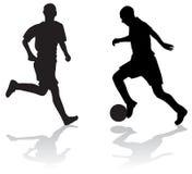 le football de silhouettes de joueurs Images libres de droits