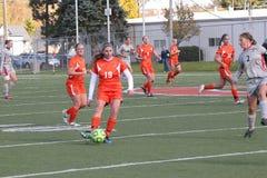 Le football des femmes de la division III de NCAA d'université Photo libre de droits