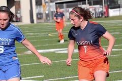 Le football des femmes de la division III de NCAA d'université Photos stock