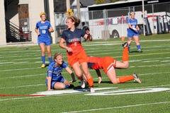 Le football des femmes de la division III de NCAA d'université Photos libres de droits