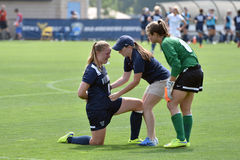 2015 le football des femmes de NCAA - Villanova @ WVU Photo stock
