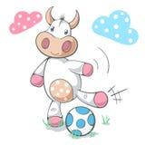 Le football drôle mignon de jeu de vache, le football illustration libre de droits