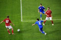 le football du Danemark Grèce contre Photo libre de droits