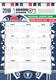 Le football du football de calibre de calendrier du vecteur 2018 Photos stock
