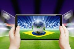 Le football en ligne, le football du Brésil Photo libre de droits