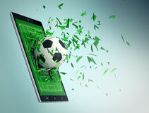 Le football et nouvelle technologie des communications Photographie stock