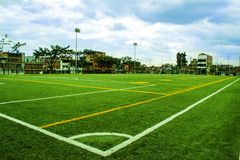Le football et terrain de football photographie stock