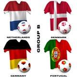 Le football européen - groupe B Images libres de droits