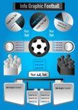 Le football graphique d'infos sur le fond bleu Image stock
