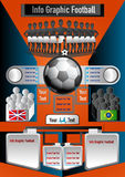 Le football graphique d'infos sur le fond orange Images libres de droits