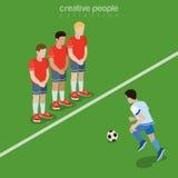 Le football isométrique plat 3d de pénalité du football Image libre de droits