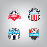 Le football Logo Design Template, identité d'équipe d'insigne du football, graphique de T-shirt du football du football Images libres de droits