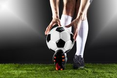 Le football Match de Fotball Concept de championnat avec du ballon de football Images stock