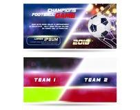 Le football ou conception large de bannière ou d'insecte du football avec la boule 3d sur le fond bleu d'or Calibre de dispositio Image stock