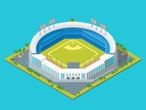 Le football ou vue isométrique du concept 3d de parc ou de stade de base-ball Vecteur Photo stock