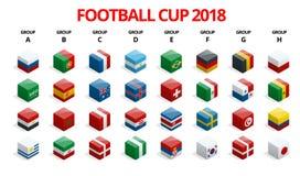 Le football 2018, qualification de l'Europe, tous les groupes Photo libre de droits