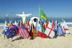 Le football Rio Brazil du football de Cristo de drapeaux de pays international Photographie stock libre de droits