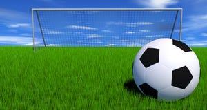 Le football sur une zone verte abondante Image libre de droits