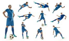 Le footballeur du football professionnel avec la boule a isolé le fond blanc image stock