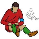 Le footballeur masculin dans la chemise rouge de débardeur tirant des chaussettes lèvent le vecteur i Photos stock