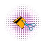 Le forbici hanno tagliato l'icona della carta di credito, stile dei fumetti Fotografia Stock Libera da Diritti