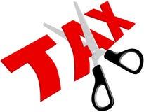 Le forbici hanno tagliato le imposte elevate troppo ingiuste Fotografie Stock Libere da Diritti
