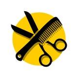 Le forbici semplici pettinano l'illustrazione di logo del salone di capelli illustrazione di stock