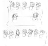 Le forcine con progettazione, piccole molle giocano il disegno a matita di schizzo, il progetto Fotografia Stock