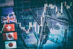 Le forex lance le concept sur le marché de commerce de devise Photographie stock libre de droits