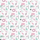 Le forme geometriche senza cuciture del giorno di biglietti di S. Valentino di vettore del modello di Memphis amano la struttura  illustrazione vettoriale