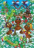 Le formiche fanno le decorazioni di natale Fotografia Stock Libera da Diritti
