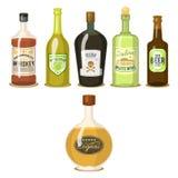 Le forti bevande dell'alcool in vino del brandy del cognac del whiskey di vetro del fumetto delle bottiglie vector l'illustrazion Fotografia Stock