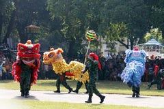 Le forze armate nazionali indonesiane stanno facendo un attracti di ballo di leone Immagine Stock