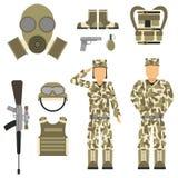 Le forze stabilite del carattere dell'arma delle pistole di simboli dell'uomo militare dell'armatura progettano e segno americano Immagini Stock Libere da Diritti