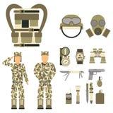 Le forze stabilite del carattere dell'arma delle pistole di simboli dell'uomo militare dell'armatura progettano e segno americano Fotografia Stock