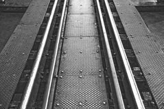 Le foto in bianco e nero ferroviarie Fotografia Stock