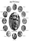 Le foto di un bambino che cresce dalla nascita ad un anno Fotografia Stock Libera da Diritti