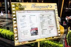 Le Fouquets Menu. The famous Le Fouquets restaurant menu located along the Champs-Elysees in Paris, France Royalty Free Stock Photos